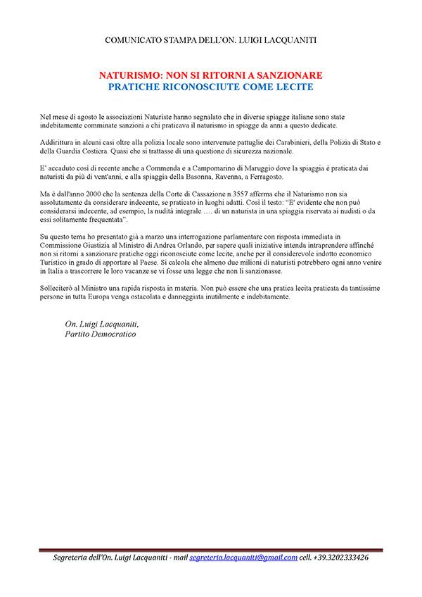 Comunicato stampa On. Lacquaniti – 31 agosto 2016