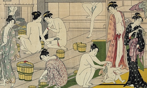 "Communal nude bathing artwork from Japan – ""Bathhouse women"" by Torii Kiyonaga, 1752-1815 (Library of Congress)"
