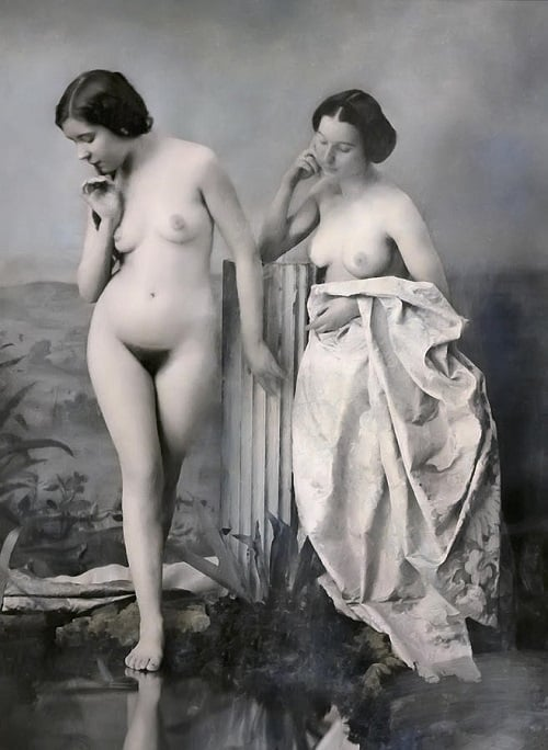 """Two Nude Victorian Women at the Baths"" 1851 – Daniel Hagerman"